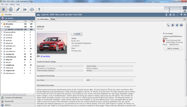 Detailed information for the found car offer