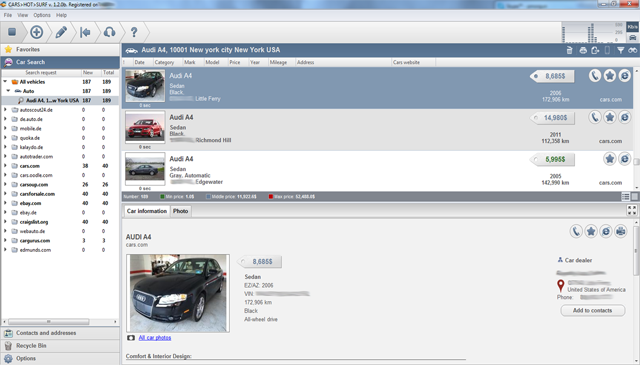 The main window of software Cars HotSurf is a car finder